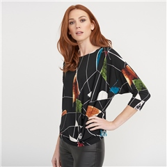 Joseph Ribkoff Abstract Print Batwing Sleeve Drape Top