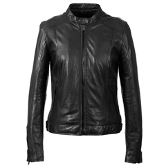 Oakwood 'Diana' Mandarin Collar Leather Jacket - Black