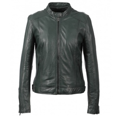 Oakwood 'Diana' Mandarin Collar Leather Jacket - Dark Green