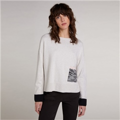 Oui 100% Cotton Zebra Pocket Jumper - White Black