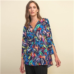 Joseph Ribkoff Illustrative Floral Print Flared Zip Tunic - Midnight