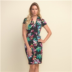 Joseph Ribkoff Leaf Print Belted Dress - Black Multi