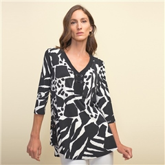 Joseph Ribkoff Abstract Print Eyelet Detail Tunic - Vanilla Black