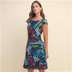Joseph Ribkoff Abstract Print Striped Dress - Multi