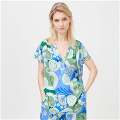 Dea Kudibal 'Ann' Abstract Floral Print Stretch Silk Top - Khanga Green