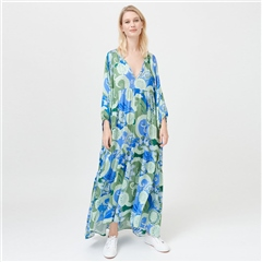 Dea Kudibal 'Harper' Abstract Floral Print Stretch Silk Maxi Dress - Khanga Green