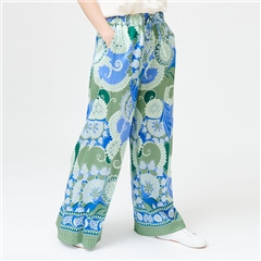 Dea Kudibal 'Pallas' Wide Leg Stretch Silk Trousers - Khanga Green