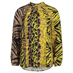 Betty Barclay Multi Animal Print High Neck Blouse - Yellow Camel