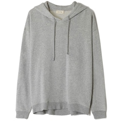 American Vintage 'Neaford' Cotton Sweater With Hood - Gris Chine
