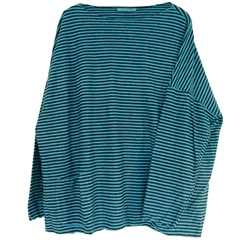 Cut.Loose Cotton/Linen Blend Oversized Striped Jumper - Aquarius