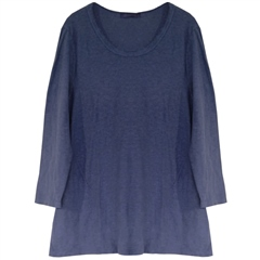 Cut.Loose Cotton/Linen Frayed Neckline Tunic - Night Sky
