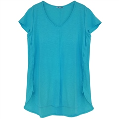 Cut.Loose Linen/Cotton Blend V-Neck T-Shirt - Aquarius