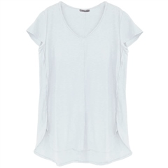 Cut.Loose Linen/Cotton Blend V-Neck T-Shirt - White