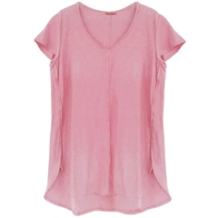 Cut.Loose Linen/Cotton Blend V-Neck T-Shirt - Clover