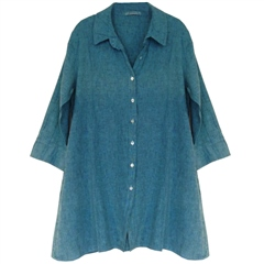 Cut.Loose Linen/Cotton Blend A-Line Shirt - Aquarius