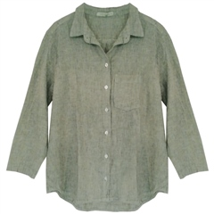 Cut.Loose Linen/Cotton Blend Shirt - Absinthe