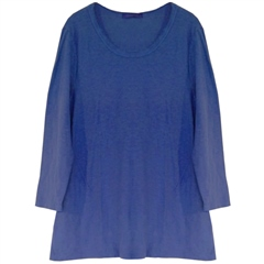 Cut.Loose Cotton/Linen Frayed Neckline Tunic - Morning Glory