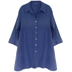 Cut.Loose Linen/Cotton Blend A-Line Shirt - Morning Glory