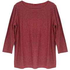 Cut.Loose Cotton/Linen Blend Boatneck T-Shirt - Heart