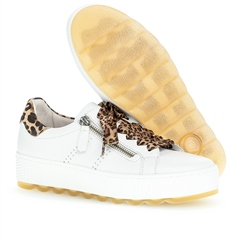 Gabor 'Optifit' Animal Print Detail Flatform Trainers - White/Lynx