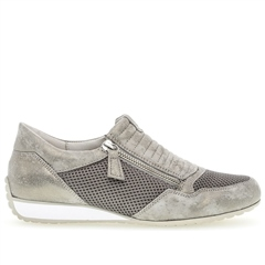 Gabor 'Optifit' Zip-Up Mesh Detail Trainers - Metallic Taupe