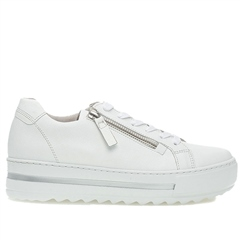 Gabor 'Optifit' Zip Detail Flatform Leather Trainers - White