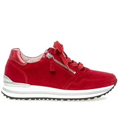 Gabor 'Optifit' Zip Detail Suede Trainers - Ruby