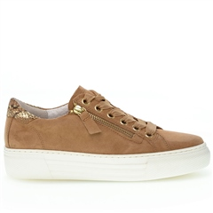 Gabor 'Optifit' Zip Detail Suede Flatform Trainers - Caramel
