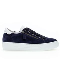Gabor 'Optifit' Zip Detail Suede Flatform Trainers - Bluette