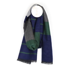Peace Of Mind Men's Striped Scarf - Blue/Green