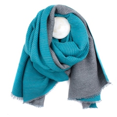 Peace Of Mind Reversible Pleated Scarf - Turquoise/Grey