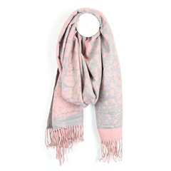 Peace Of Mind Animal Print Reversible Scarf - Pink/Grey