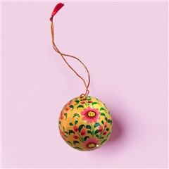Sissel Edelbo Handpainted Christmas Ornament - Pink Floral