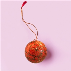 Sissel Edelbo Handpainted Christmas Ornament - Coral Floral