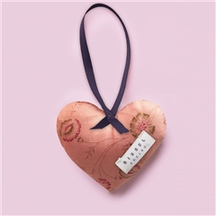 Sissel Edelbo 'Megan' Silk Heart Ornament - Pale Pink Floral