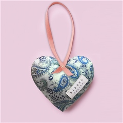 Sissel Edelbo 'Megan' Silk Heart Ornament - Blue Paisley