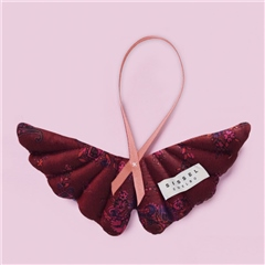 Sissel Edelbo Angel Wings Silk Ornament - Burgundy Floral