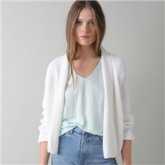 Indi & Cold 100% Cotton Edge To Edge Cardigan - White