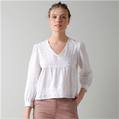 Indi & Cold Cotton Blend Long Sleeve Blouse - White
