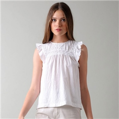 Indi & Cold Cotton Blend Sleeveless Blouse - White
