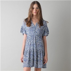 Indi & Cold Floral Print A-Line Dress - Azure