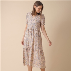 Indi & Cold Floral Print Tiered Dress - Multi