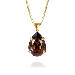 Caroline Svedbom 'Mini Drop' Swarovski Crystal Necklace - Smoked Topaz