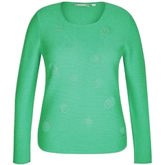 Rabe Embellished Spot Roundneck Jumper - Grass Green