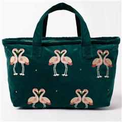Elizabeth Scarlett Kissing Flamingo Velvet Weekender Bag