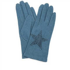 Peace Of Mind Star Embellished Wool Gloves - Teal