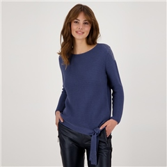 Monari 100% Cotton Embellished Ribbed Jumper - Mallow