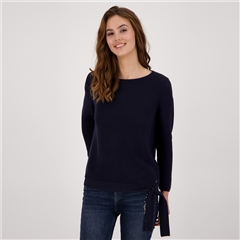 Monari 100% Cotton Embellished Ribbed Jumper - Night Blue