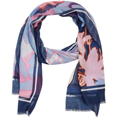 Rabe Floral Print Lightweight Scarf - Raspberry