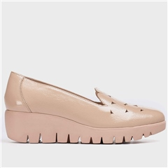 Wonders Geometric Leather Wedge Shoes - Nude